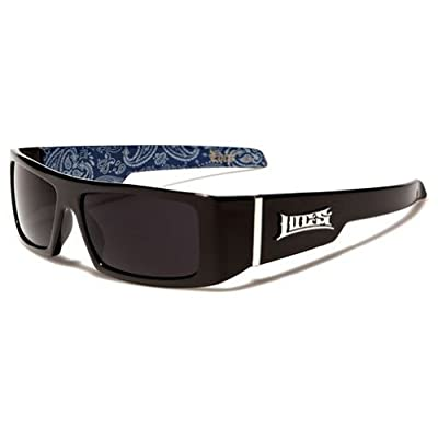 Locs Mens Hardcore Wrap Around Sunglasses with Bandana Print Inside