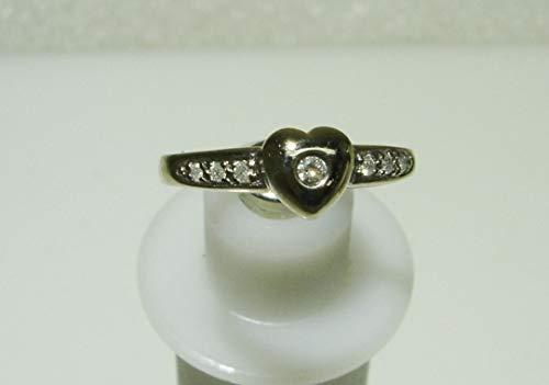 - 10K White Gold .10tcw 7 Diamond Heart Shaped Setting Ring Size 7 SD-1188