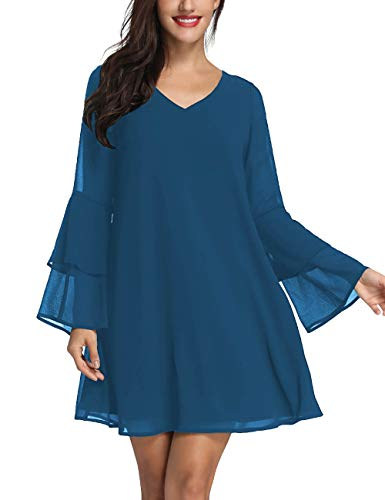 Sleeve Tunic Dress Summer Chiffon Short Cocktail Casual Evening Dress Teal ()