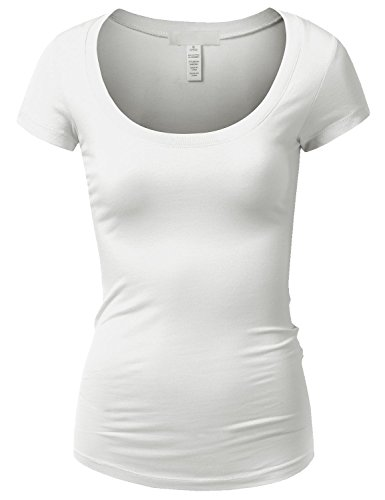 Active Basic Womens Plain Basic Deep Scoop Neck T-Shirt with Cap Sleeves - Various Colors (Medium, White)