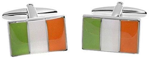 Zennor Mens Irish Flag Cufflinks - Green/Orange/White