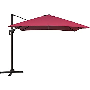 SNAIL 10 X 10 Ft Heavy Duty Aluminum 360 Degree Rotating Square Patio  Offset Umbrella With