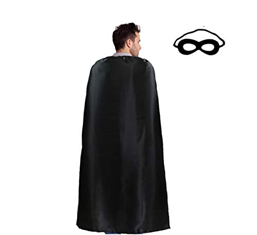 Black Superhero Capes and Masks for Adults - Men Women Super Hero Dress Up Costume Party Favors ()