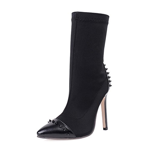 autumn Winter Elastic Women'S Pointed Rivets and Black Boots Boots High Cloth Women'S Heels qZxa5t