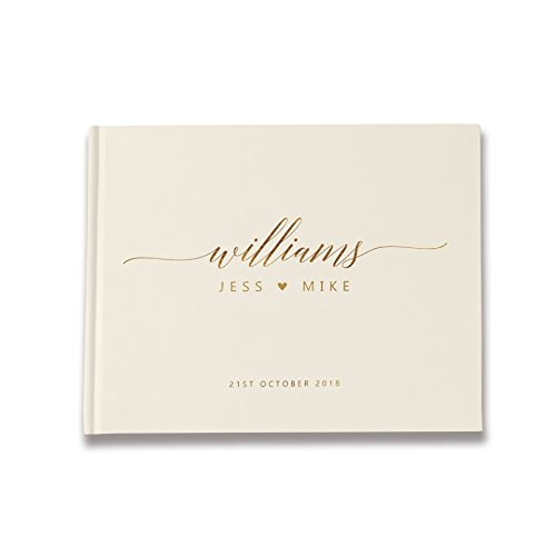 Ivory and Gold Wedding Guest Book, Ivory Wedding Guest Book, Personalized Wedding Guest Book (9 x 6 (Personalized Wedding Guest Book)