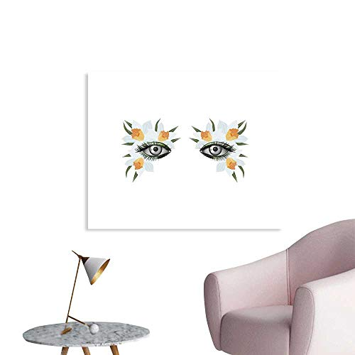 J Chief Sky Eyelash Custom Prints Poster Look of Spring Photorealistic Eye Artistic Makeup with Flowers Narcissus Mural Wallpaper W20 xL16]()