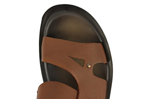 Marron Clair en Cuir pour Homme Summer Holiday Sangle Sandales à enfiler plage Tongs