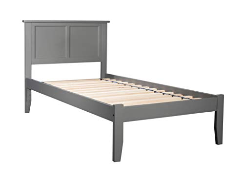 Atlantic Furniture AR8611009 Madison Platform Bed with Open Foot Board, Twin XL, Grey