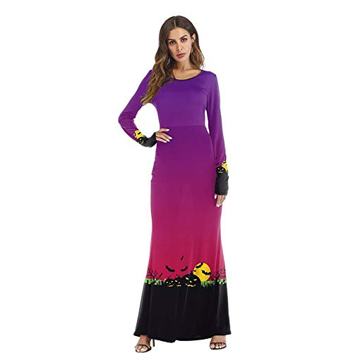 SHANGXIAN Womens Dresses Halloween Long Sleeve O-Neck Casual Lightning Pumpkin Lantern Printed Purple Gradient Party Dress,L/XL