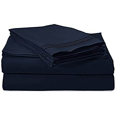 Clara Clark 1800 Premier Series 4pc Bed Sheet Set - King, Navy Blue