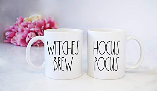 Rae Dunn Inspired Hocus Pocus and Witches Brew mug set - Halloween coffee cups - witch's - ink printed - sale]()