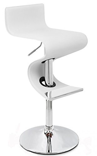 Creative Images International Wave Collection Height Adjustable PU Leather Swivel Bar Stool with Low Backrest and Gas Lift, (Leather Island)
