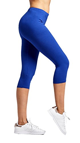 Royal Blue Womens Capris (Conceited Premium Ultra Soft Women's Capri Cropped Leggings - High Waist - 20 Colors 2 Sizes by One Size (0-12), Royal Blue)