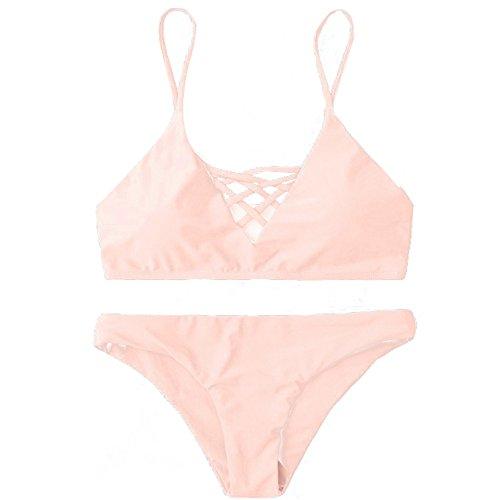 Shaped Oval Floral Trim - Aug-ust Sexy Swimwear Ladies Bikini Set Bandage Line Swimsuit Bathing Beachwear (S, Pink)
