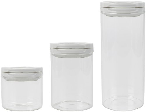 OXO Good Grips 3-Piece Flip Lock Glass Container Set, White