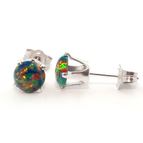 (Trustmark 925 Sterling Silver 1.3ct 6mm Black Created Opal Cabochon Crown Set Stud Earrings, Aurora)