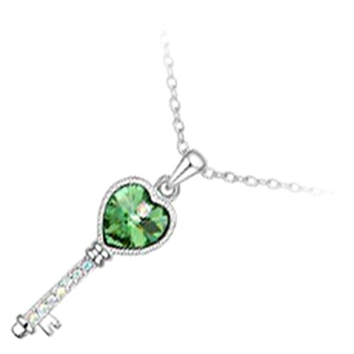 GWG Sterling Silver Plated Love Key with Emerald Green Heart and Set of Stones Along It Pendant Necklace for Women