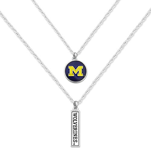 FTH Licensed U of M Michigan Wolverines Athletics College University Double Layer Pendant Necklace with Gift Box ()