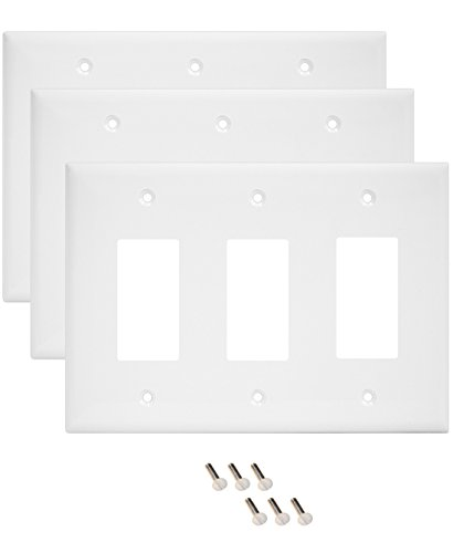 Pack of 3 Wall Plate Outlet Switch Covers by SleekLighting | Decorative Plastic White Look | Variety of Styles: Decorator / Blank / Toggle | Size: 3 Gang Decorator