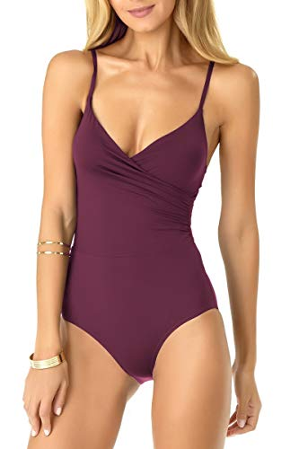 Anne Cole Women's Wrap Lingerie Maillot One Piece Swimsuit, Aubergene Sangria, - Maillot Swimsuit