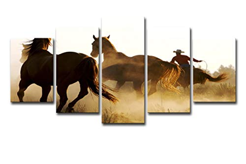 Mytinaart Art - 5 Piece Large Modern Contemporary Cowboys Horses Prints Artwork Gallery Wrapped Landscape Pictures Paintings on Canvas Wall Art for Living Room Bedroom Home Decorations