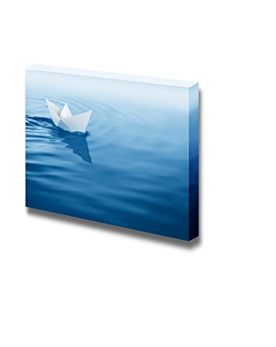 (wall26 - Canvas Prints Wall Art - Origami Paper Boat Afloat in The Blue Water | Modern Wall Decor/Home Decoration Stretched Gallery Canvas Wrap Giclee Print. Ready to Hang - 12