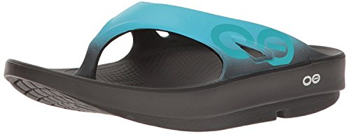 OOFOS Unisex Ooriginal Sport Thong Flip Flop, Black/Aqua, 10 B(M) US Women / 8 D(M) US Men (Best Abs On The Planet)