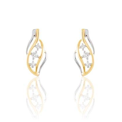 HISTOIRE D'OR - Boucles d'Oreilles Or et Diamants - Femme - Or 2 couleurs 375/1000 - Taille Unique