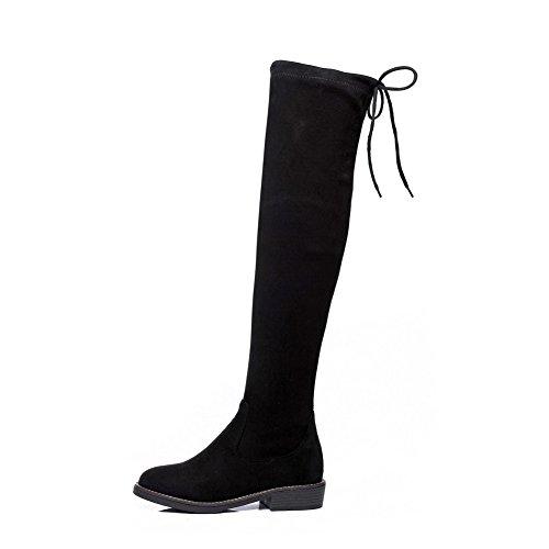 Black Square up Bows Boots Lace Womens BalaMasa Urethane Heels xOUzfB6wnq