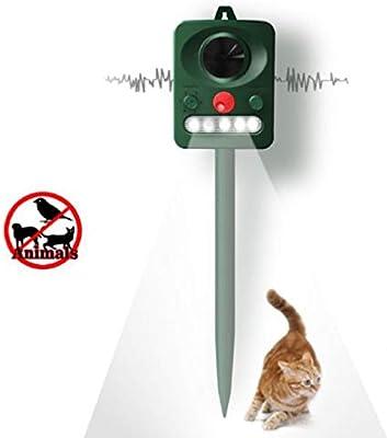 ZMJY Repelente de Gatos, Sonido Solar y Controlador de luz LED con pilotes Jardín Tierras de Cultivo Gato Perro Pájaro Animal Disuasivo: Amazon.es: Hogar