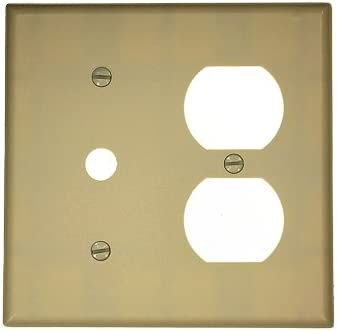 Leviton 88078 2-Gang 1-Duplex 1-Telephone//Cable .406 Device Combination Wallplate Thermoset Strap Mount White