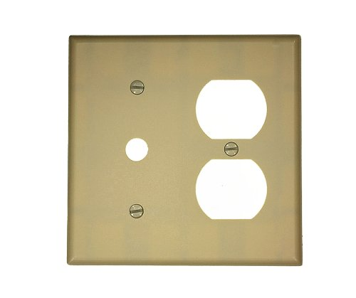 Leviton 86078 2-Gang 1-Duplex 1-Telephone/Cable .406 Device Combination Wallplate, Thermoset, Strap Mount, Ivory
