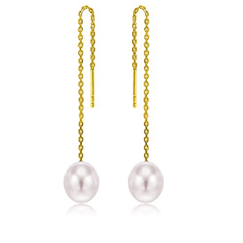 18K Gold Long Tassel Ear Wire Threader Freshwater Cultured Pearl Dangle Earrings by PORTWORLD