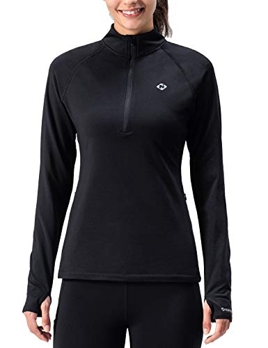 Naviskin Women's Thermal Fleece Half Zip Thumbholes Long Sleeve Shirts Outdoor Running Top Black Size XL
