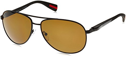 Prada Sport 510S DG05Y1 Black Rubber 51OS Aviator Sunglasses Polarised Lens - Sunglasses Aviator Prada Rectangular