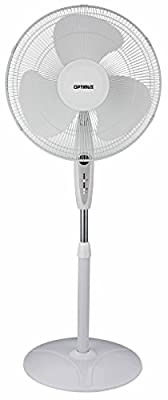 Optimus F-1672WH Oscillating Stand Fan with Remote Control, 16-Inch, White