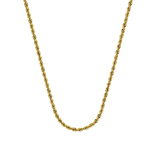 ROPE CHAIN, 10KT GOLD HALLOW ROPE CHAIN 2.90 MM WIDE , 22 INCHES LONG by DiamondJewelryNY