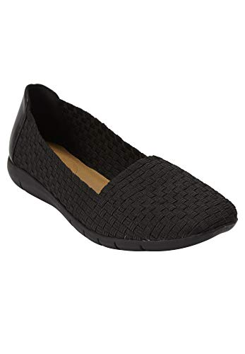Comfortview Women's Plus Size The Bethany Flat - Black, 11 M ()