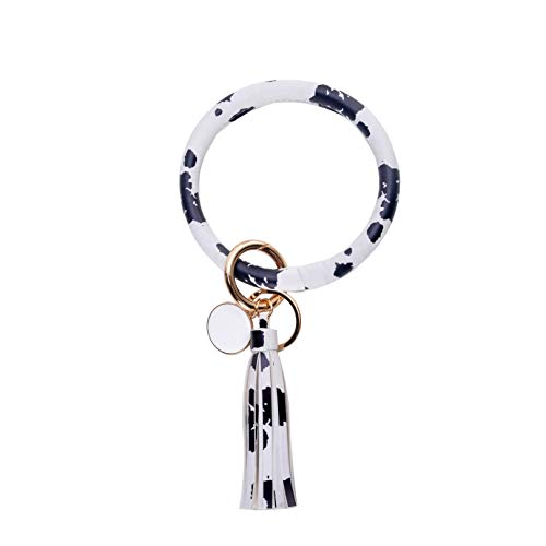 - PU Leather O Key Chain Circle Floral Leather Tassel Wristlet Bracelet Key Ring By Coolcos(Cow Pattern)