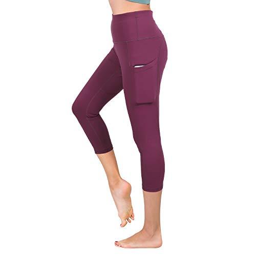 Xtextile Women's High Waist Capri Yoga Pants Tummy Control Yoga Capri Running Leggings with Side Pockets Red