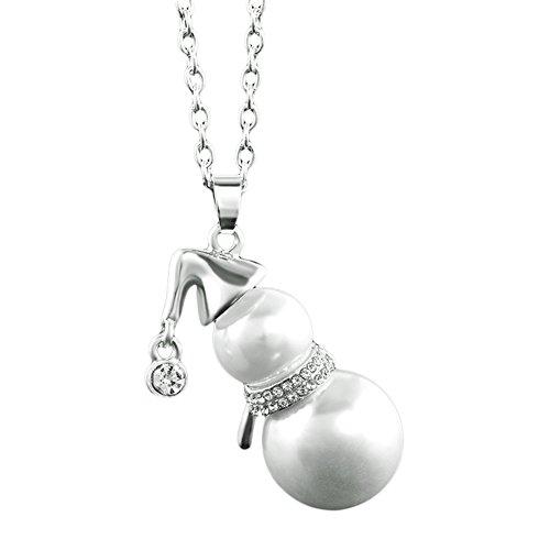 Meiyuan Cute Snowman Pendant Faux Pearl Sweater Chain Necklace Women Xmas Gift Jewelry