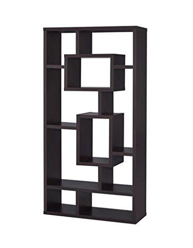 Coaster Casual Cappuccino Bookcase with Rectangular Shelves - Dark Wood Bookcase