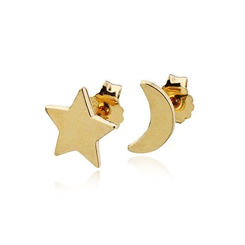 788d89bb8 Image Unavailable. Image not available for. Color: Moon And Star Stud  Earrings 14k Gold ...