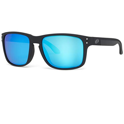 eyewear Shades fashion blue glass lenses sunglasses Polarized for Men and Women (Black Rubber/Polarized Blue Flash, Polarized ()