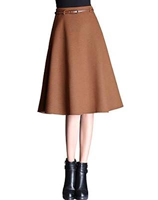 Wincolor Women's High Waisted Wool Blend A-line Flared Knee Length Midi Tartan Skirt with Zipper Back