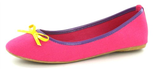 Spot On Flat Ballerina / Bow Vamp / Multi (Fuchsia/Yellow, Size 5 UK)