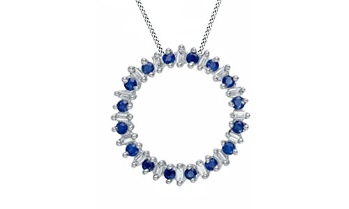 Simulated Blue Sapphire and Natural Diamond Circle Pendant in 10K Solid White Gold (1/5 cttw)
