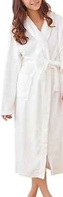 Domple Women Flannel Loungewear Bathrobe Thick Warm Winter Nightgown Spa Robe