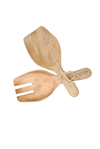 Creative Co-OP Hand Carved Mango Wood Salad Server Set, 1...