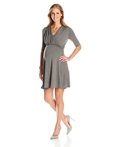 Maternal America Women's Maternity Mini Front Tie Nursing Dress, Heather Charcoal, LARGE by Maternal America